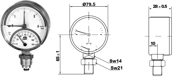 Termomanometru radial Fimet TIRM Φ 80 6 bar 120 °C