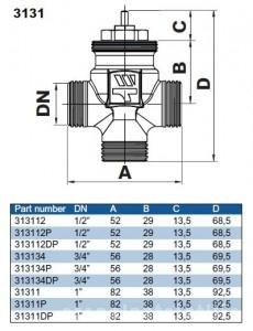 Poza Ventil liniar on/off cu 3 cai Watts 3131 - 1P - dimensiuni