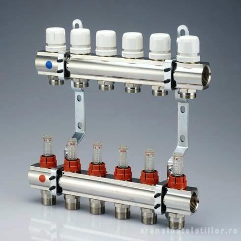 Set distribuitor tur/retur 1 x EK - 6 cai cu debitmetru