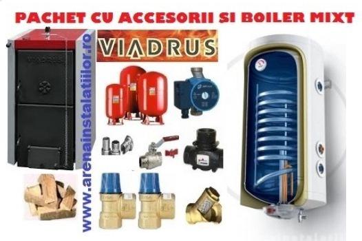 Pachet centrala termica pe lemne Viadrus 20 kW cu accesorii si boiler TESY 120 L cu serpentina extinsa