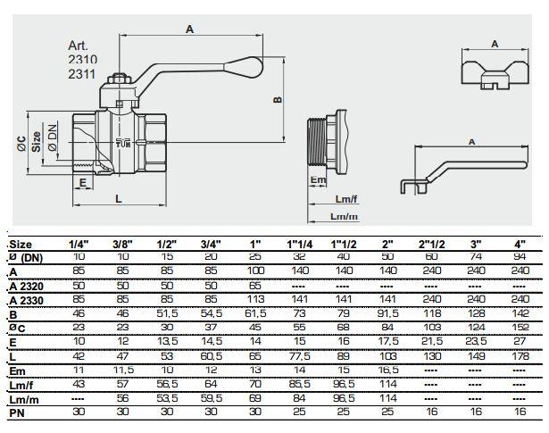 Dimensiuni robinet de trecere cu sfera TIEMME Scirocco FF