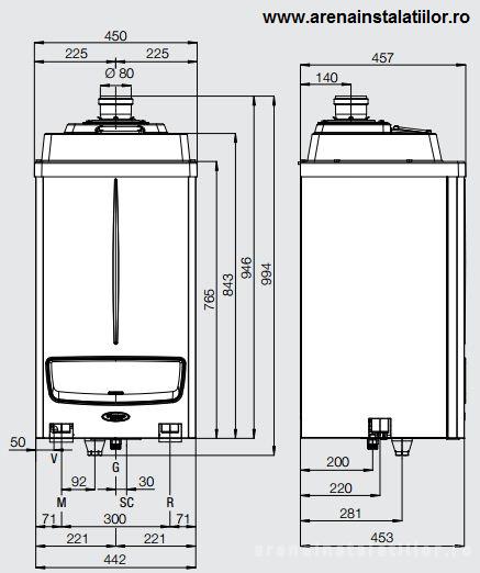 Dimensiuni Centrale termice in condensatie IMMERGAS VICTRIX PRO 55 ErP