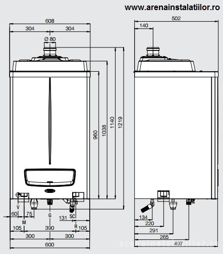 Dimensiuni Centrale termice in condensatie IMMERGAS VICTRIX PRO 80 ErP
