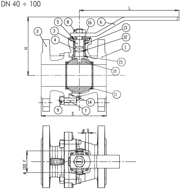 Schema robinet gaz cu sfera si flanse BRANDONI PN16