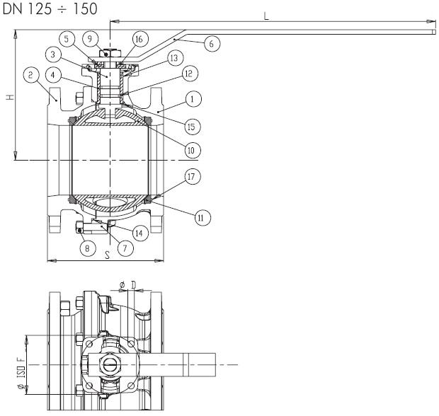 Dimensiuni robinet gaz cu sfera si flanse BRANDONI PN16