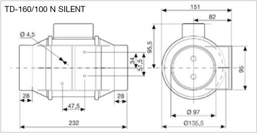 Ventilator de tubulatura Soler Palau TD MIXVENT 160/100 N SILENT - dimensiuni