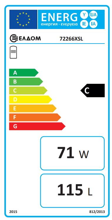 Clasa energetica Boiler termoelectric orizontal ELDOM 120 litri