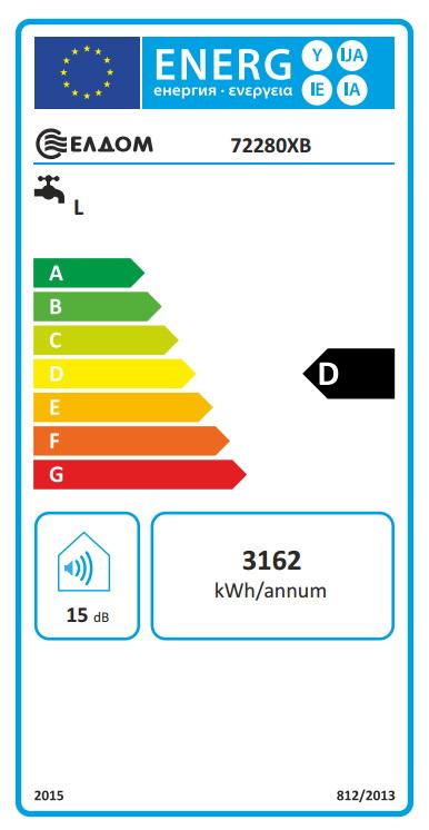 Clasa energetica Boiler termoelectric orizontal ELDOM 150 litri