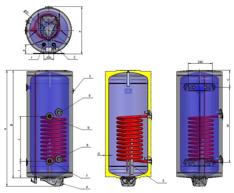 Dimensiuni Boiler termoelectric ELDOM TERMO 150 L - 2 kW