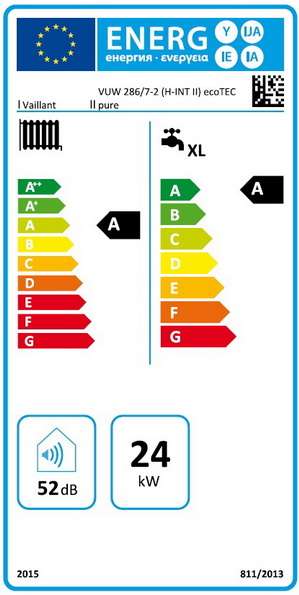 Clasa energetica Centrala termica in condensatie VAILLANT ecoTEC pure VUW 286/7-2, 26,1 kW