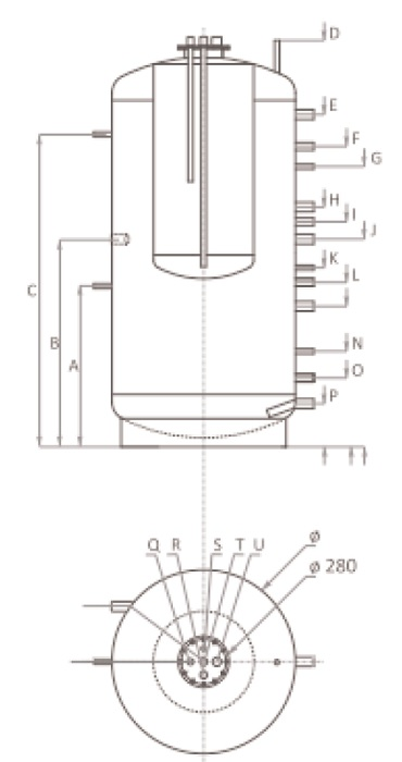 Dimensiuni Puffer fara serpentina tip Tank in Tank Ferroli FB-T 1000 litri