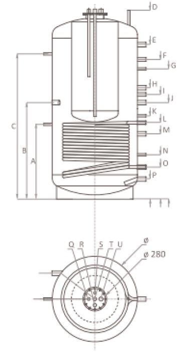 Dimensiuni Puffer cu o serpentina tip Tank in Tank Ferroli FB-T1 1000 litri