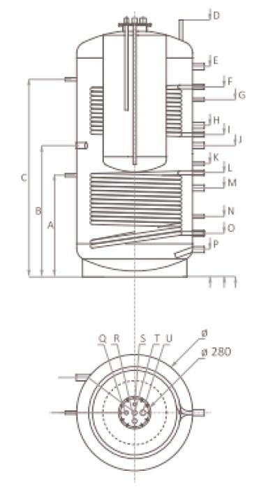 Dimensiuni Puffer cu doua serpentine tip Tank in Tank Ferroli FB-T2 600 litri