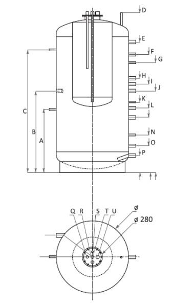 Dimensiuni Boiler Tank in Tank Woody KSC 800/200