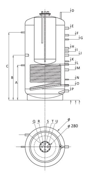 Dimensiuni Boiler Tank in Tank cu o serpentina Woody KSC1 800/200