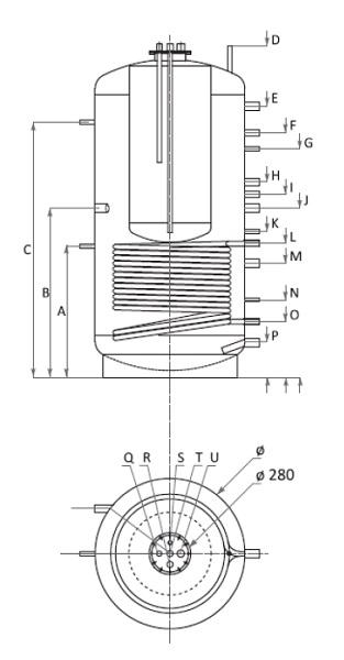 Dimensiuni Boiler Tank in Tank cu o serpentina Woody KSC1 1000/220