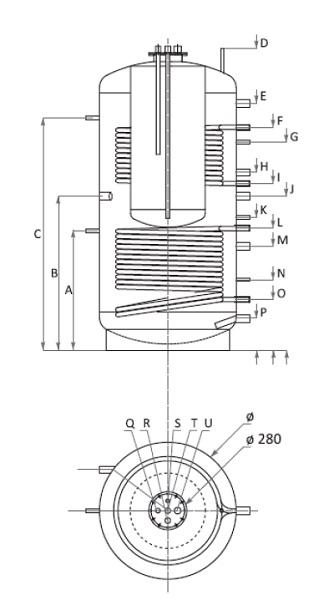 Dimensiuni Boiler Tank in Tank cu doua serpentine Woody KSC2 1500/300