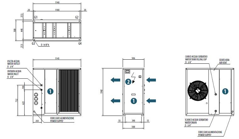 Dimensiuni Chiller aer-apa BICOLD - WBA-E MINI 1008T - 8,3 kW