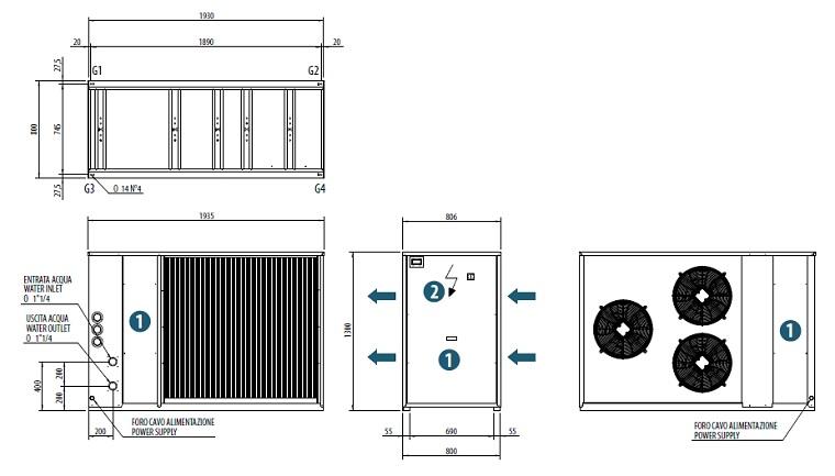 Dimensiuni Chiller aer-apa BICOLD - WBA-E MINI 1040 - 38,8 kW