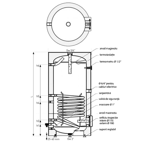 Dimensiuni Boiler cu o serpentina Galmet Tower SGW(S) 500 - 500 litri