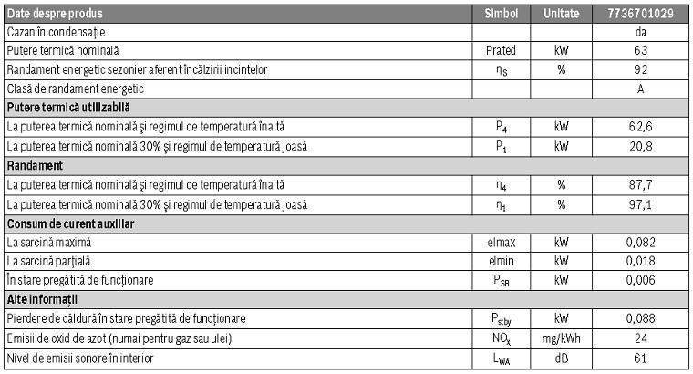 Date tehnice Centrala termica Buderus Logamax Plus GB 162-70 V2 - incalzire = 70 kW