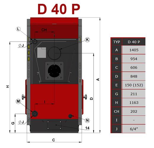 Dimensiuni Centrala termica pe peleti ATMOS D40P
