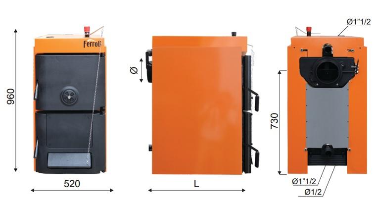 Dimensiuni Cazan din fonta pt. combustibil solid lemn/carbune Ferroli SFR Pro 8