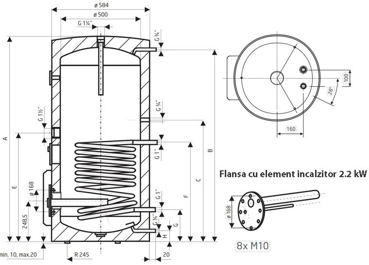 Dimensiuni Boiler termoelectric de sol DRAZICE OKCE 200 NTR / 2.2 kW - 200 litri