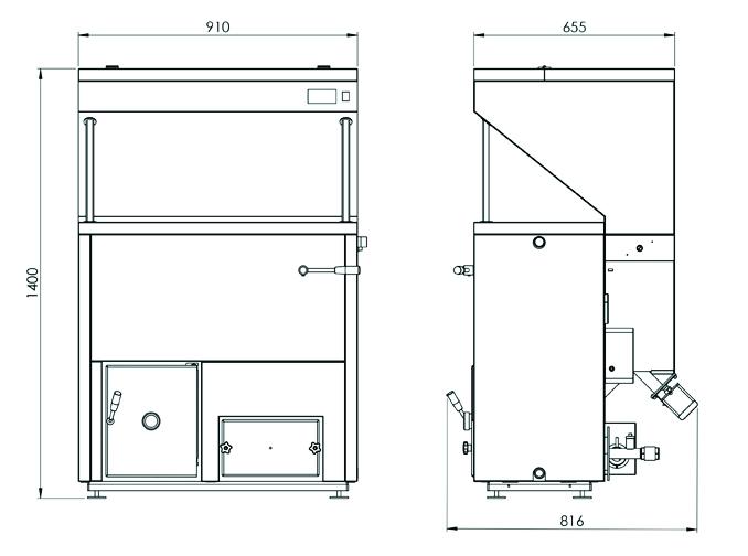 Dimensiuni Cazan pe peleti BIODOM DOUBLE FAN 34, 8,6 – 30.8 kW