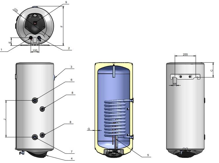 Dimensiuni Boiler termoelectric ELDOM 120 litri