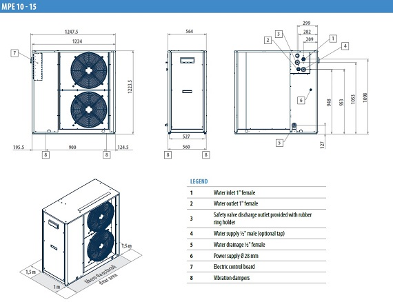 Dimensiuni Chiller aer-apa GALLETTI MPE 10 - 9.17 kW - racire