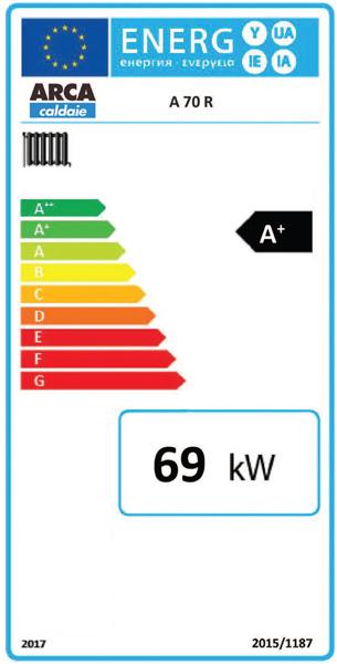 Clasa energetica Centrala termica pe lemne cu gazeificare ARCA ASPIRO 70 R