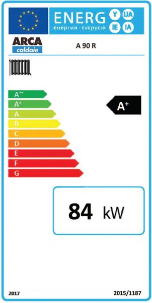 Clasa energetica Centrala termica pe lemne cu gazeificare ARCA ASPIRO 90 R INOX