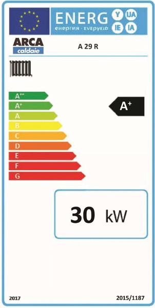 Clasa energetica Centrala termica pe lemne cu gazeificare ARCA ASPIRO 29 R INOX
