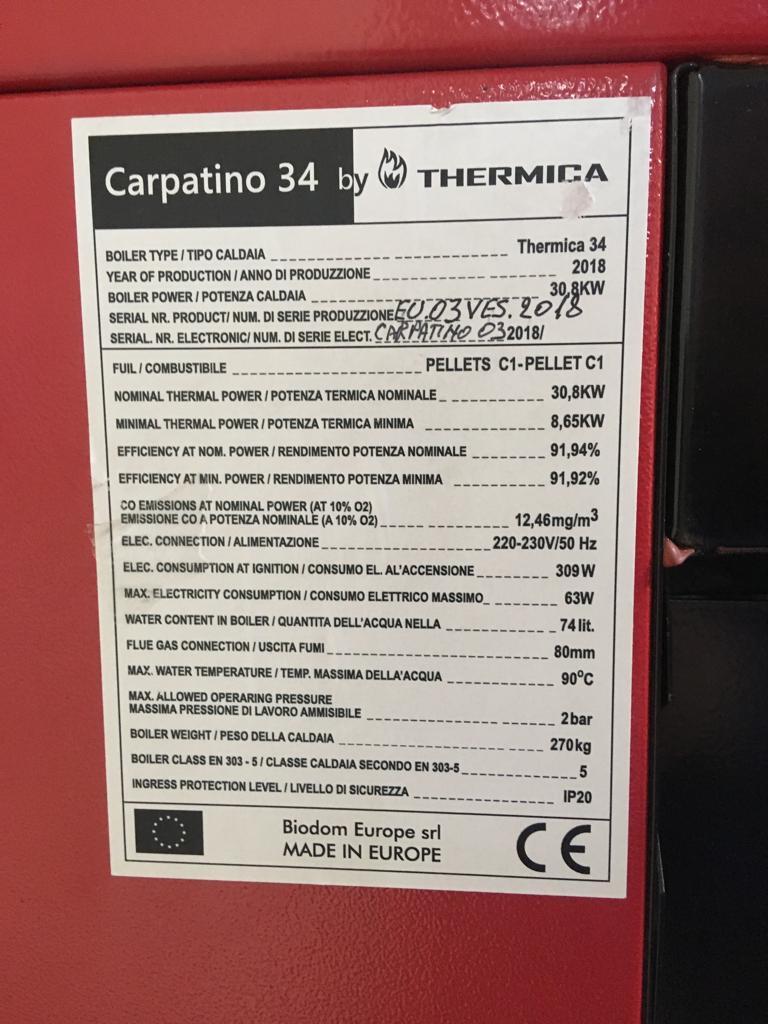 Cazan pe peleti complet automatizat Biodom THERMICA Carpatino 34