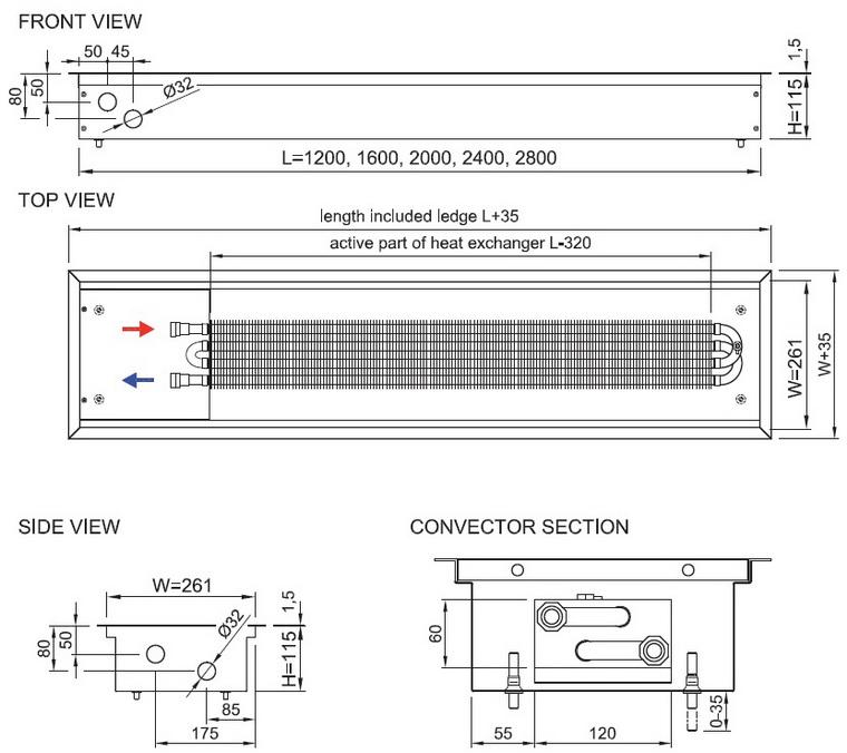 Schita Convector de pardoseala ingropat ISAN PRACTIC FSK41-11