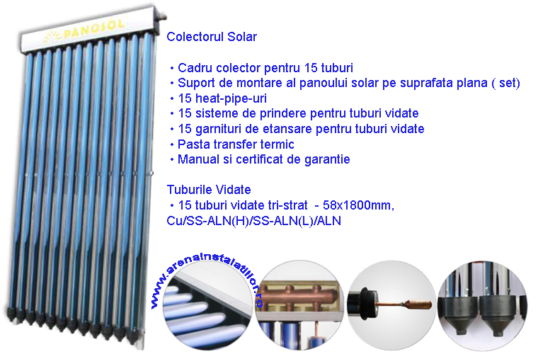Panou solar 15 tuburi vidate HEAT PIPE