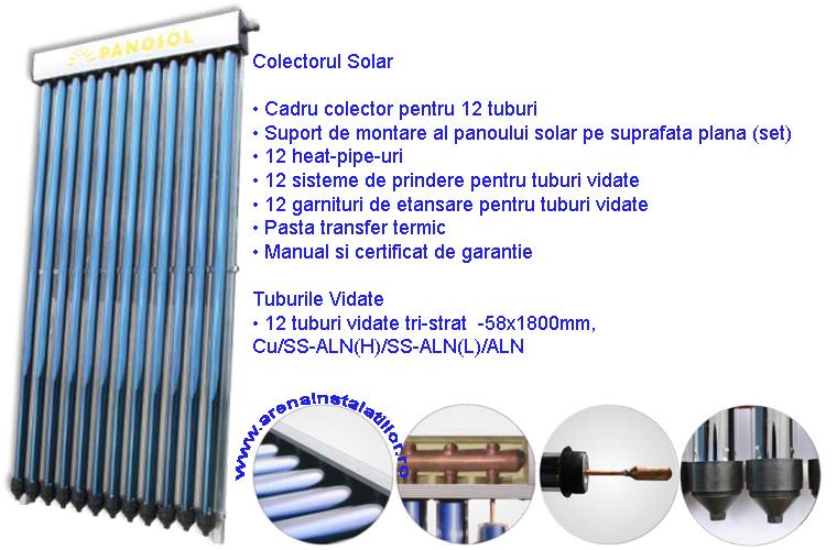 Panou solar 12 tuburi vidate HEAT PIPE