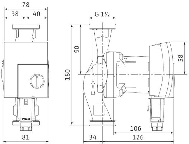 Dimensiuni pompa Wilo Yonos Pico 25/1-6