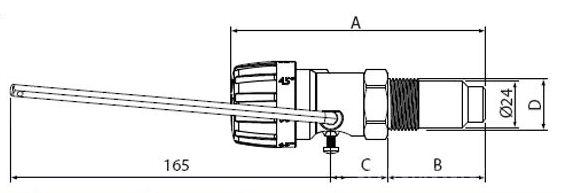Termostat cu lant ESBE ATA 212 - dimensiuni
