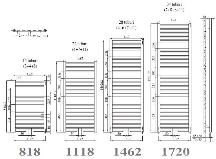 Calorifer de baie IRSAP ARES - dimensiuni