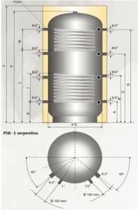 Poza Puffer cu 2 serpentine - acumulator apa calda - Austria Email PSRR - dimensiuni