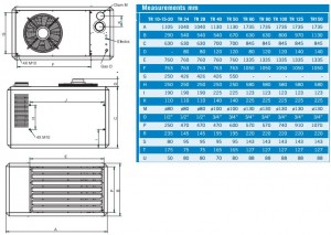 Poza Dimensiuni aeroterma pe gaz cu tiraj fortat WINTERWARM TR