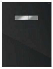 poza Placa superioara TECElux din sticla neagra si butoane crom cu actionare mecanica