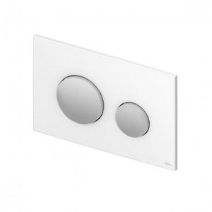 poza Clapeta WC TECE loop alba din plastic cu butoane crom lucios 2 trepte de actionare