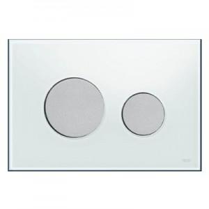 poza Clapeta WC TECE loop din sticla alba cu butoane albe 2 trepte de actionare