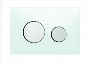 poza Clapeta WC TECE loop din sticla alba cu butoane crom lucios 2 trepte de actionare