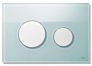 poza Clapeta WC TECE loop din sticla verde cu butoane albe 2 trepte de actionare