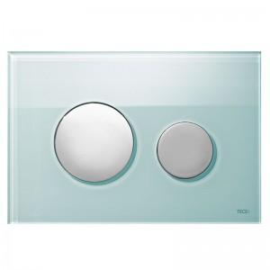 poza Clapeta WC TECE loop din sticla verde cu butoane crom mat 2 trepte de actionare