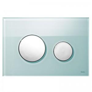 poza Clapeta WC TECE loop din sticla verde cu butoane crom lucios 2 trepte de actionare